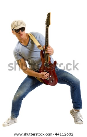 Rockstar with a guitar isolated over white background - stock photo