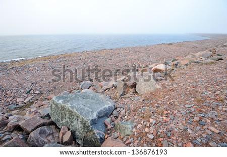 Rocky Baltic seashore near St. Petersburg, Russia - stock photo