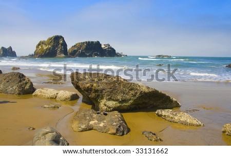 Rocky Beach, Ecola State Park Oregon, USA - stock photo