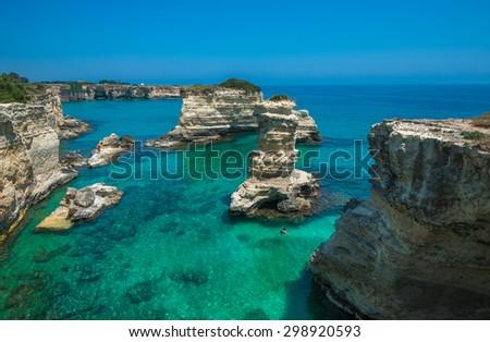 Rocky beach in Puglia, Torre Santâ??Andrea, Italy - stock photo