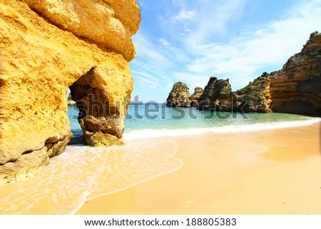 Rocky beach, Lagos, Portugal - stock photo