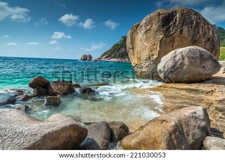 Rocky beach view of Koh Tao island Thailand  - stock photo