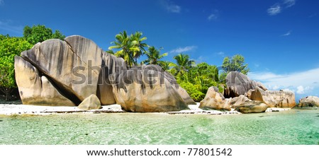 rocky beaches of Seychelles islands - stock photo