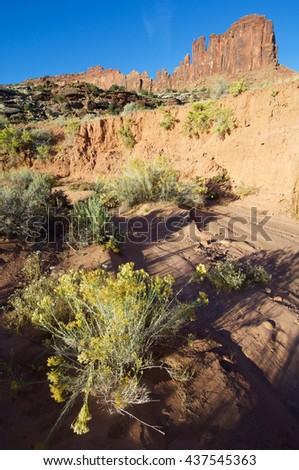 rocky cliff in the area known as Indian Creek, near Canyonlands, Moab, Utah, Usa - stock photo