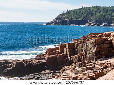 Rocky coast in the Acadia National Forst near Bar Harbor, Maine - stock photo