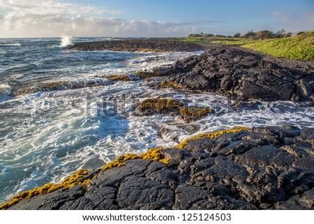 Rocky coast line, Big Island, Hawaii - stock photo