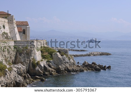 Rocky coast of Antibes in France - stock photo