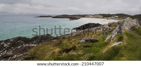 Rocky coast of Atlantic Ocean during rainy weather, South West of Ireland - stock photo