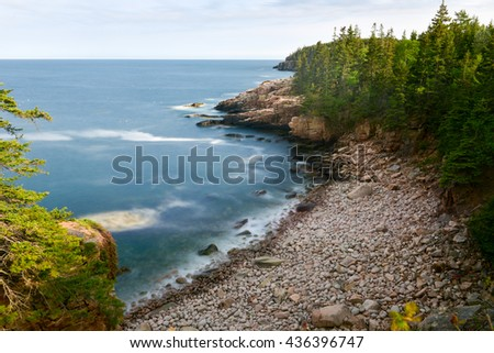 Rocky coast of Monument Cove in Acadia National Park Maine in the summer. - stock photo