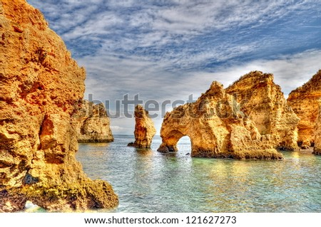 Rocky coast of Portugal in HDR - stock photo
