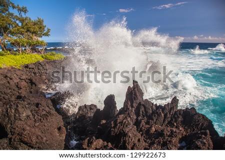 Rocky coastline, Big Island, Hawaii - stock photo