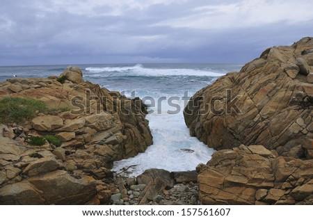 Rocky Coastline, Monterey,CA - stock photo