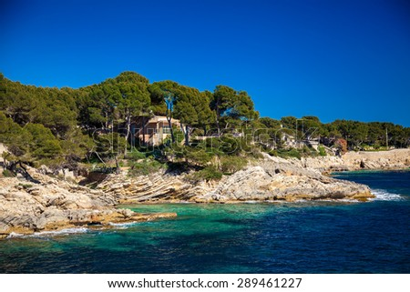 rocky coastline near Cala Ratjada, Majorca, Spain - stock photo