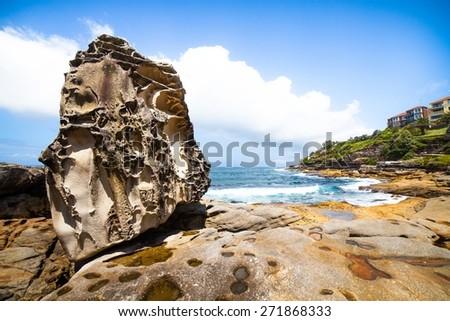 rocky coastline near to Bondi Beach in NSW, Australia  - stock photo