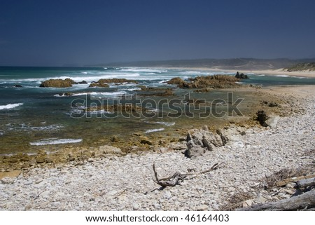 Rocky coastline of the Eastern Cape, South Africa - stock photo