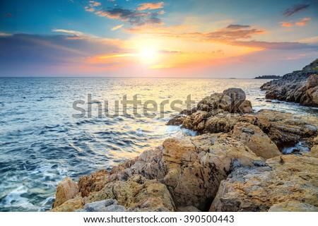 Rocky coastline with magical sunrise,Rovinj,Istria peninsula,Croatia,Europe - stock photo