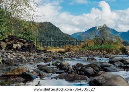 Rocky creek in Stave Lake, British Columbia, Canada - stock photo