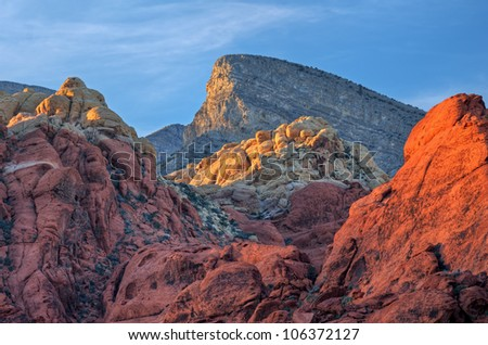 Rocky desert landscape at sunset, Red Rock Canyon National Recreation Area, Las Vegas, Nevada, USA - stock photo