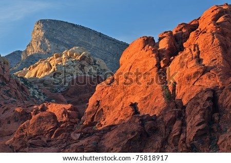 Rocky desert landscape at sunset, Red Rock Canyon National Recreation Area, Las, Vegas, Nevada, USA - stock photo