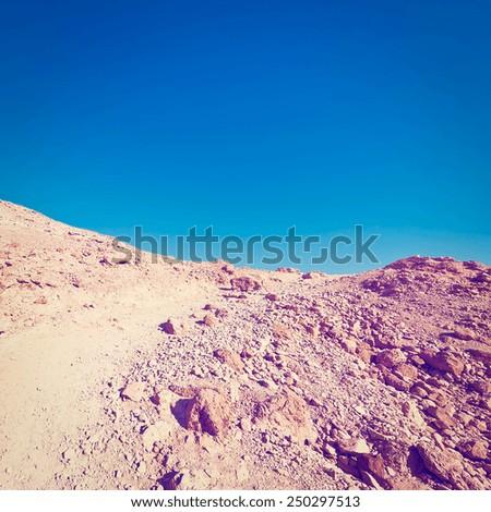 Rocky Hills of the Negev Desert in Israel, Instagram Effect - stock photo