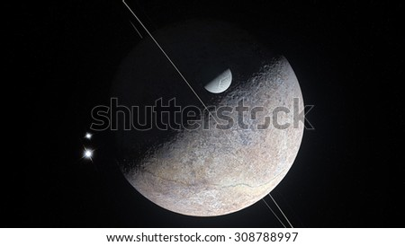 Rocky Icy Planets Planetary Cosmic Backgrounds - stock photo
