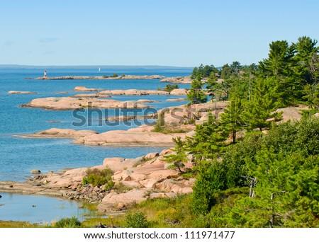 Rocky islands in georgian Bay - stock photo