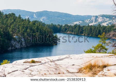 Rocky lake - stock photo