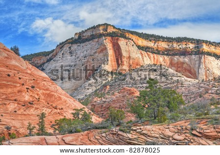 Rocky landscape of mountains and cliffs, Zion National Park, Utah, USA - stock photo