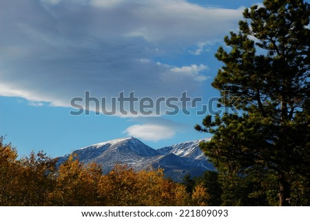 Rocky Mountain Autumn Evening with Copy Space - stock photo