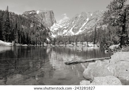 Rocky Mountain National Park in Colorado, USA. Dream Lake view with Flattop Mountain. Black and white tone - retro monochrome color style. - stock photo