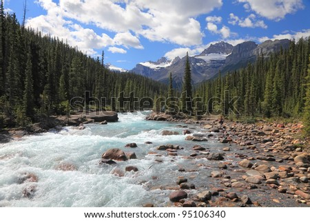 Rocky mountains and river with a rapids current in a valley between mountain wood in Banff National Park (Alberta, Canada) - stock photo