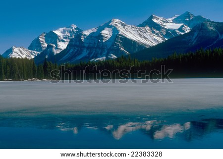 Rocky mountains in Bunff national park Canada - stock photo