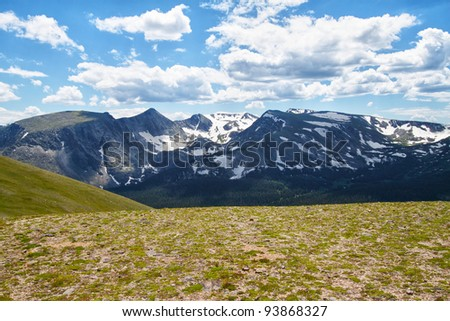 Rocky Mountains in summer seen from Trail Ridge Road, Colorado - stock photo