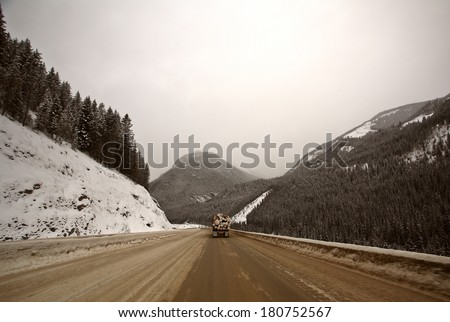 Rocky Mountains in winter - stock photo