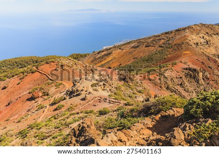 Rocky mountains landscape on beautiful island, Canary Islands La Palma, La Gomera, Tenerife - stock photo
