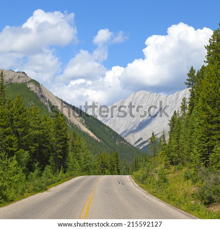 Rocky mountains road Canadian landscape - stock photo