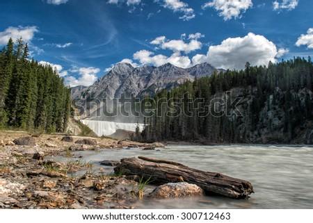 Rocky Mountains Yoho Park Wapta falls - stock photo