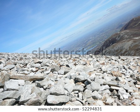 Rocky Mountainside with Tilted Horizon - stock photo