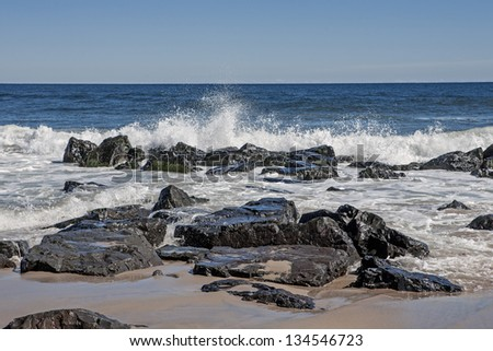 Rocky New Jersey Shore - stock photo