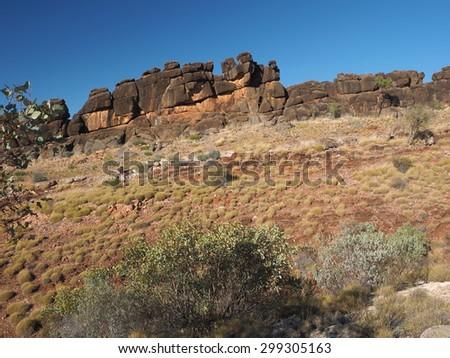 Rocky outcrop at the Ellery Cree Dolomite walk in the McDonnell Ranges, Alice Springs, Australia, July 2015     - stock photo