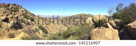 Rocky Peak Trails running eastward to San Fernando Valley, Santa Susana Mountains, CA - stock photo