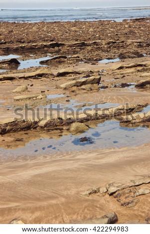 rocky reef at Makorori surf beach exposed at low tide, Gisborne, New Zealand   - stock photo