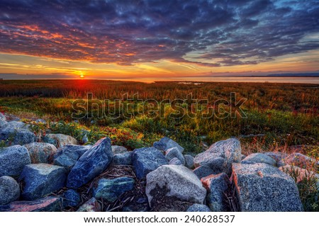 Rocky riverside and green grass at dawn - stock photo
