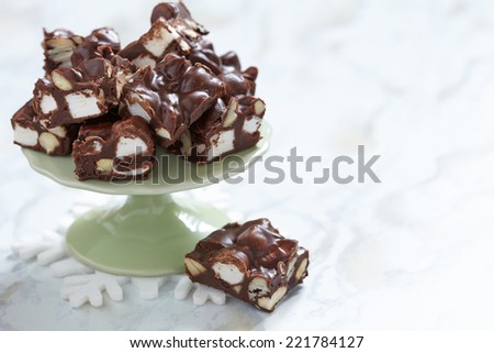 Rocky road fudge with marshmallow and nuts - stock photo