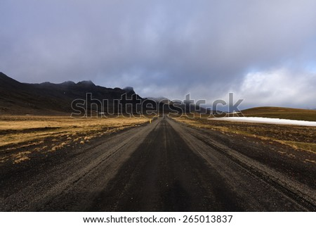 Rocky Road Offroad Track in South Iceland/ Rocky Road Landscape - stock photo