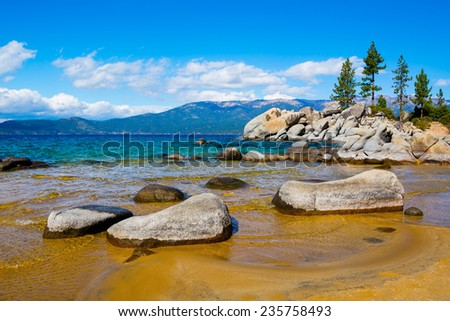 Rocky shore at Lake Tahoe  - stock photo