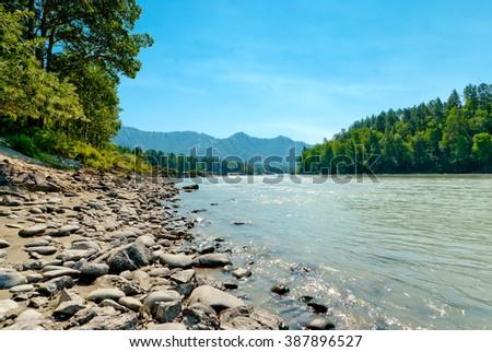 Rocky shore of a mountain river Katun. Altai Mountains, Russia. - stock photo