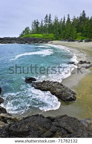 Rocky shore of  Pacific Rim National park, Canada - stock photo