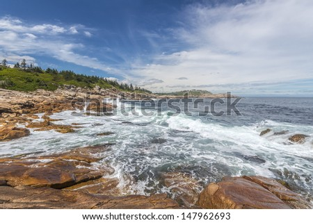 Rocky shoreline (Duncan's Cove, Nova Scotia, Canada) - stock photo