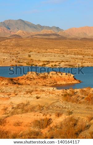 Rocky shoreline of Lake Mead in Nevada - stock photo